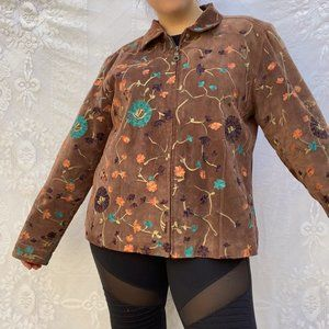 Chicos Floral Embroidered Tan Suede Jacket